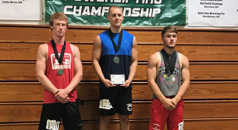 The 165 pound class at the KEMFA State Powerlifting Championships featured three outstanding lifters. Pictured (L-R): Garret Dalinghaus, Frankfort junior, third overall; Garrett Burns, Central Christian junior, first overall and multiple record-breaker; and Conner Born, Hill City senior, second overall. (Photo courtesy Jerry Burns)