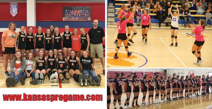 Centralia, pictured above, after Saturday's runner-up finish at the Amy Schutter Memorial Tournament in Wabaunsee, will look to win a fourth straight 1A state championship. Otis-Bison, top right, enters the season ranked, but suffered a loss in the championship of Friday's Healy Invite. Little River, pictured bottom right prior to their scrimmage, enters the season ranked fourth. (Centrailia photo: Nick Evans; Little River photo: Brent Garrison; Otis-Bison photo: Everett Royer)