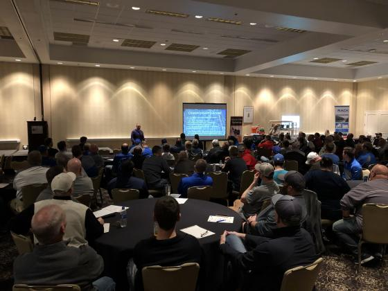 New Kansas State coach Chris Klieman spoke to a packed house to kick-off Friday night's Kansas Football Coaches Association Clinic in Wichita. (Photo by Rod Stallbaumer)