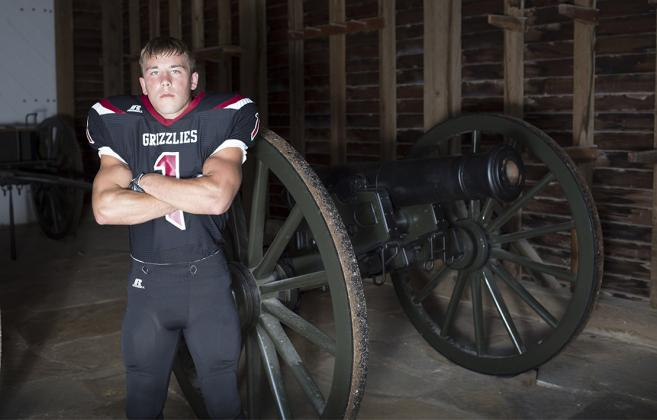 Rock Hills running back Zane Colson, a Kansas Pregame coverboy and also a standout wrestler, will play football and wrestle at Kansas Wesleyan University. (Photo by Derek Livingston)