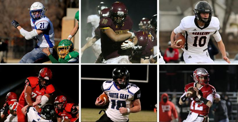 Clockwise from top left: Colin Jueneman (Hanover), Jayvon Pruitt (Victoria), Jayden Garrison (Little River), Gavin Cornelison (Frankfort), Aaron Skidmore (South Gray) and Harlon Obioha (Hoxie) are among the 80 players selected to play in Saturday's 8-Man All-Star games in Beloit. (Gavin Cornelison photo courtesy FHS Yearbook, all others by Everett Royer, KSportsImages.com)  --