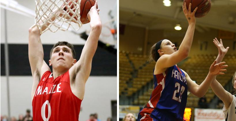 Maize's Caleb Grill and Hanover's Macy Doebele were just two of the players who performed well in Saturday's KBCA All-Star Games in Salina. (Grill photo by Dan Loving, Doebele photo by Everett Royer, KSportsImages.com)