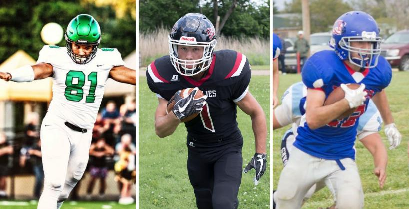 From left to right: Derby's Isaac Keener (Kansas Shrine Bowl), Rock Hills' Zane Colson (8-Man All-Star Game), and Pawnee Heights' Kade Scott (6-Man All-Star Game) are just three of the players who will participate in the three different All-Star football games scheduled Saturday. (Photos by Jared Weinman, Derek Livingston, and Kellan Shafer)