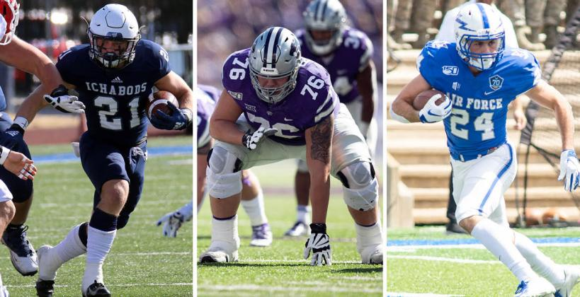 Pictured (L-R): Washburn's Taylon Peters, K-State's Josh Rivas and Air Force Academy's Kade Remsberg. (Photos: Washburn, K-State and Air Force Athletics)