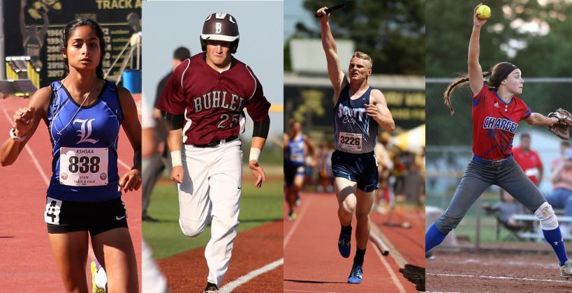 From left-to-right: Lincoln's Aubry Donley, Buhler's Colton Goans, Scott City's Wyatt Hayes, Wabaunsee's Autymn Schreiner (Donley photo by Terri Thrun, others by Everett Royer, KSportsImages.com)