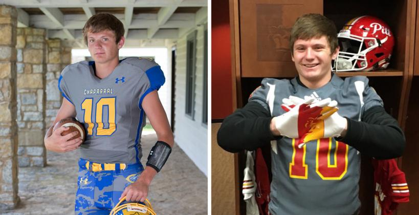 Jake Burke, a Kansas Pregame coverboy from Chaparral who played QB and safety in high school, accepted a scholarship offer from Pittsburg State, where he'll likely transition to linebacker. (Left photo by Derek Livingston, right photo courtesy Jake Burke)