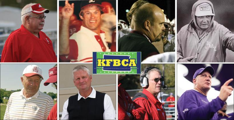 """Top row, left-to-right: Roger Barta, Gary Cornelsen, Marvin Diener and Ed Kriwiel. Bottom row: Dick Purdy, Chuck Smith, Tom Young and K-State coach Chris Klieman. (Photos: Barta, Diener, Smith, Young, Kansas Pregame file photos; Cornelsen, Kriwiel, KSHSAA/""""Under The Lights""""; Klieman courtesy K-State Athletics.)"""