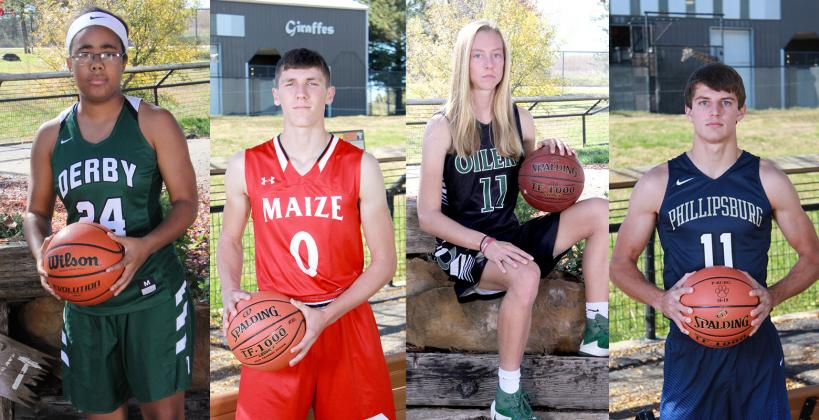 Winter cover athletes continue leading some of the top teams in the KBCA rankings. Left-to-right: Tor'e Alford is part of an outstanding group for top-ranked Derby; Maize standout Caleb Grill is helping to keep the Eagles atop the 5A rankings; Emily Ryan and the Central Plains Oilers continue their winning streak; Phillipsburg's Trey Sides is a big reason the Panthers are ranked fourth in 3A. (Photos by Bree McReynolds-Baetz Photography)