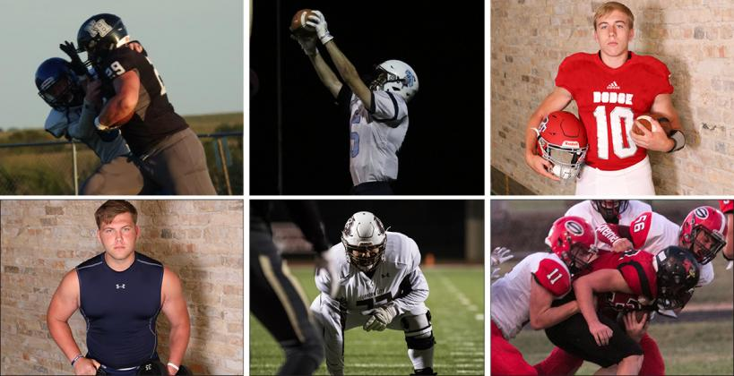Clockwise from top left: Northern Heights' Tee Preisner (Photo by John Pringle); Southeast's Reece Jacobs (Photo by Jaymee Cummins); Dodge City's Beau Foster (File Photo); Sedgwick's Nathan Lacey (#11) and Gannon Resnik (#56) (Photo by Kelley DeGraffenreid); Garden City's Refujio Chairez (Photo by Adam Shrimplin); Cimarron's Hunter Renick (File Photo)