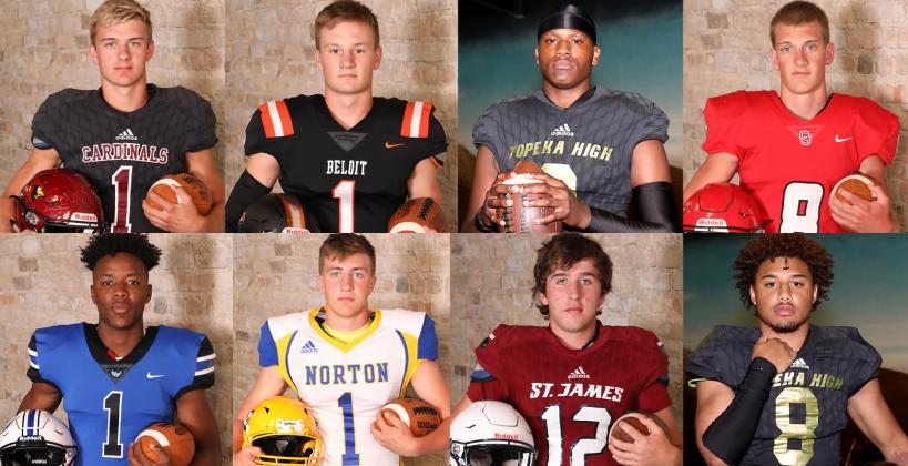 This week's Football Friday includes a number of players featured in this year's Kansas Pregame. Pictured clockwise from top left: Jordan Finnesy, Hudson Gray, Da'Vonshai Harden, Collin Koester, Ky Thomas, Jack Moellers, Kade Melvin and Teven McKelvey. (File Photos)