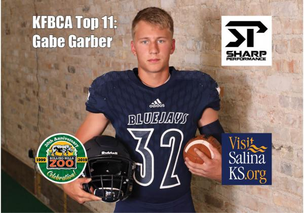 Sabetha quarterback/linebacker Gabe Garber, brought to you by Rolling Hills Zoo, Sharp Performance and Visit Salina. (Photo by Bree McReynolds-Baetz)