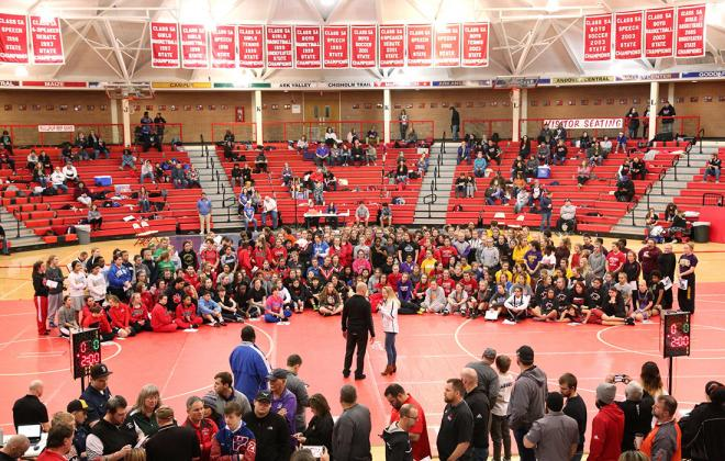 More than 200 girls wrestled at Saturday's third annual unofficial girls state wrestling championships in McPherson. (Photo by Everett Royer, KSportsImages.com)