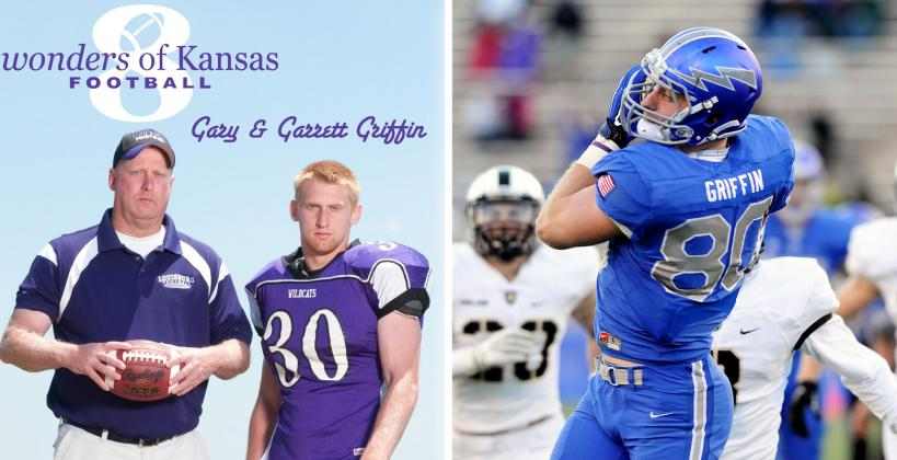 """Gary and Garrett Griffin were part of our 2011 cover shoot and """"8 Wonders of Kansas Football"""" feature. Garrett, who played football at the Air Force Academy, scored his first NFL touchdown in the NFC Championship. (Photo of Griffin from the Air Force Academy courtesy United States Air Force Academy Athletics)"""