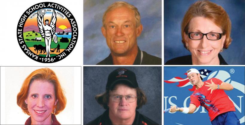 Clockwise from top center: Gary Cornelsen, Charlotte Davis, Jack Sock, Kimbrook Tennal, Rene Wilson. (Photos courtesy the Kansas State High School Activities Association)