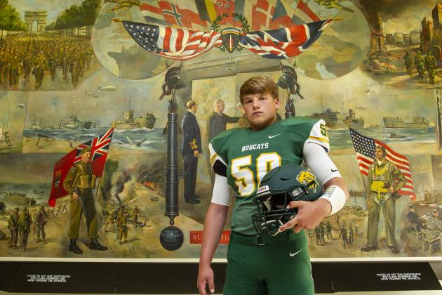 """Basehor-Linwood's Jace Friesen has announced his intention to accept a Preferred Walk-On offer at K-State. The 6-2, 215 pound defensive end was part of our """"Specialists"""" feature for his work as a long snapper. (Photo by Joey Bahr)"""