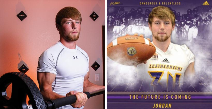 """Two-time """"Weighting Game"""" feature subject Jordan Schippers, an all-around athlete from Colby, will play at Western Illinois. (Photo by Joey Bahr, edit courtesy Jordan Schippers)"""