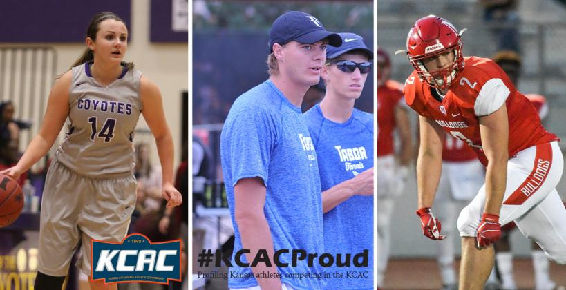 From left-to-right: Jenna Farris, Stephen Wilson and Brandt Wolters talk about their time as athletes at KCAC member institutions. (Photos courtesy KWU, Tabor and McPherson Athletics)