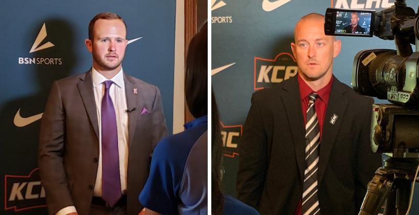 Kansas Wesleyan's Myers Hendrickson (left) and Bethel's Terry Harrison (right) were among the KCAC football coaches who addressed the media on Thursday. (Photos courtesy KWU Athletics and the KCAC)