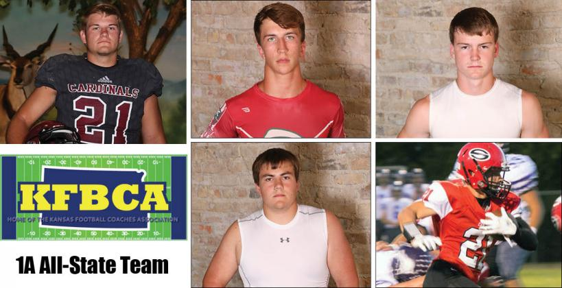 Among the members of this year's KFBCA Class 1A All-State team are, clockwise from top left: Plainville's Jared Casey, Smith Center's Joel Montgomery, Ell Saline's Luke Parks, Sedgwick's Kale Schroeder and Republic County's Eyann Zimmerman. (KPG File Photos)