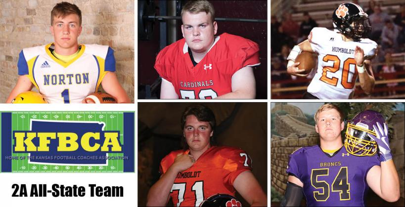 Among the members of this year's KFBCA Class 2A All-State team are, clockwise from top left: Norton's Kade Melvin, Hoisington's Riley Philbern, Humboldt's Conor Haviland, Lakin's Hadley Panzer and Humboldt's Josh Hull. (KPG File Photos)