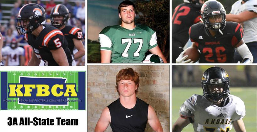 Among the members of this year's KFBCA Class 3A All-State team are, clockwise from top left: Beloit's Carson Cox, Chapman's Kel Stroud, Marysville's Atreyau Hornbeak, Andale's Mac Brand and Prairie View's Hunter Boone. (KPG File Photos)