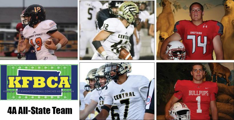 Among the members of this year's KFBCA Class 4A All-State team are, clockwise from top left: Bonner Springs' Bryce Krone, Andover Central's Trey DeGarmo, Tonganoxie's Cole Sample, McPherson's Cody Stufflebean and Andover Central's Xavier Bell. (Krone, Sample, Stufflebean KPG File Photos; DeGarmo and Bell photos by Anna Harter)