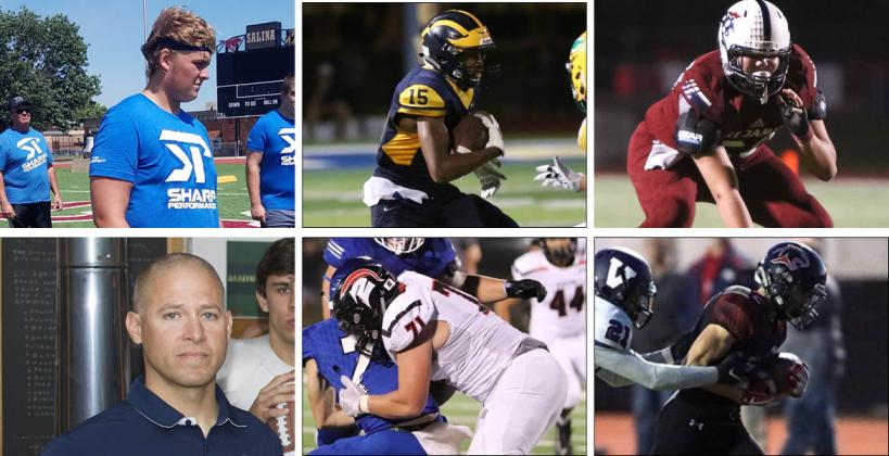 Among the members of this year's KFBCA Class 5A All-State team are, clockwise from top left: Maize South's Cody Fayette, Wichita Northwest's Zion Jones, St. James Academy's Max Kalny, Great Bend's Alex Schremmer, Emporia's Riley Wagner and Mill Valley coach Joel Applebee. (KPG File Photos)