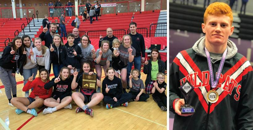 Great Bend won the first West Regional Girls Championship last weekend while Burlington's Cael Johnson won his fourth straight league title. (Photos courtesy Great Bend Panther Wrestling and Burlington Wrestling)