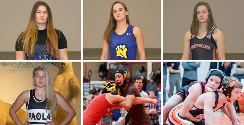 Pictured, clockwise from top left: Junction City's Elisa Robinson, Nickerson's Nichole Moore, Onaga's Morgan Mayginnes, Marysville's Elise Rose, Garden City's Angelina Serrano and Paola's Jordyn Knecht. (Photos by Everett Royer)