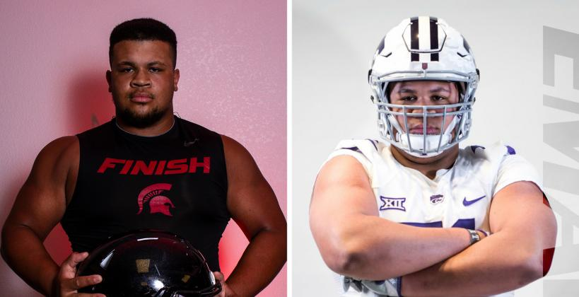 "Emporia lineman Myles Livingston, who was part of our ""Weighting Game"" feature, will accept a Preferred Walk-On offer from K-State. (Left photo by Joey Bahr, right photo courtesy Myles Livingston)"