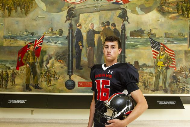 """Larned kicker Logan DeMond, part of our """"Specialists"""" feature, committed to Bethel College. (Photo by Joey Bahr)"""