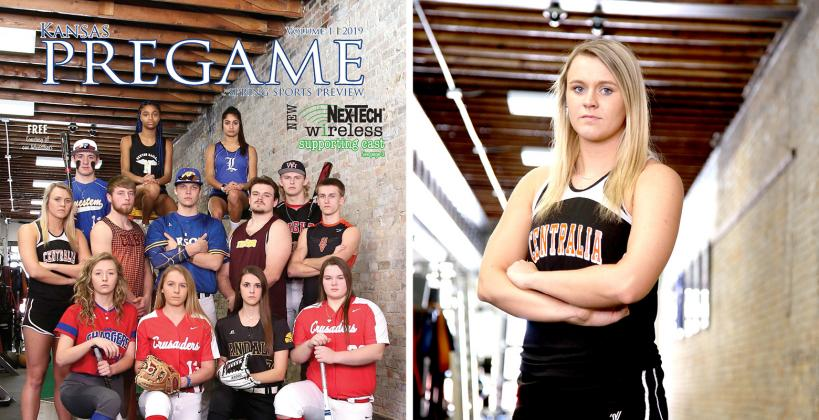 Spring covergirl Madison Lueger threw the javelin a personal best 149 feet, 8 inches at Friday's meet in Frankfort. (Photos by Everett Royer, KSportsImages.com)