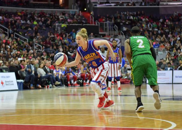 """Southeast of Saline grad Hannah """"Mighty"""" Mortimer will highlight the Harlem Globetrotters trip to Salina. (Photo by Brett Meister, courtesy Harlem Globetrotters)"""