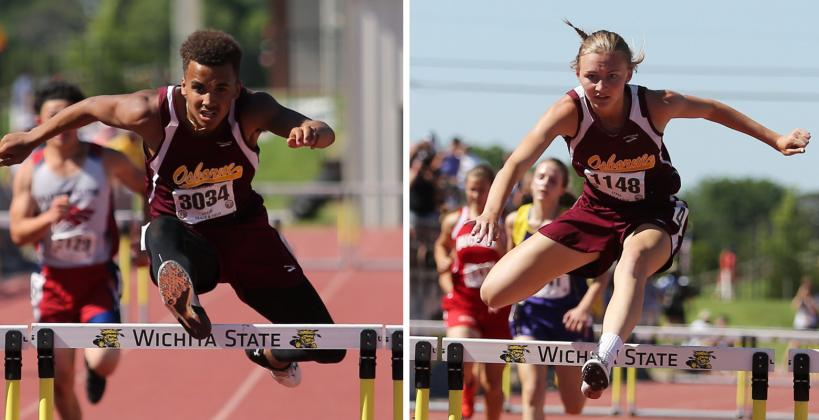 Darrien Holloway and Afftin Conway from Osborne are two of the state's top hurdlers. (Photos by Everett Royer, KSportsImages.com)