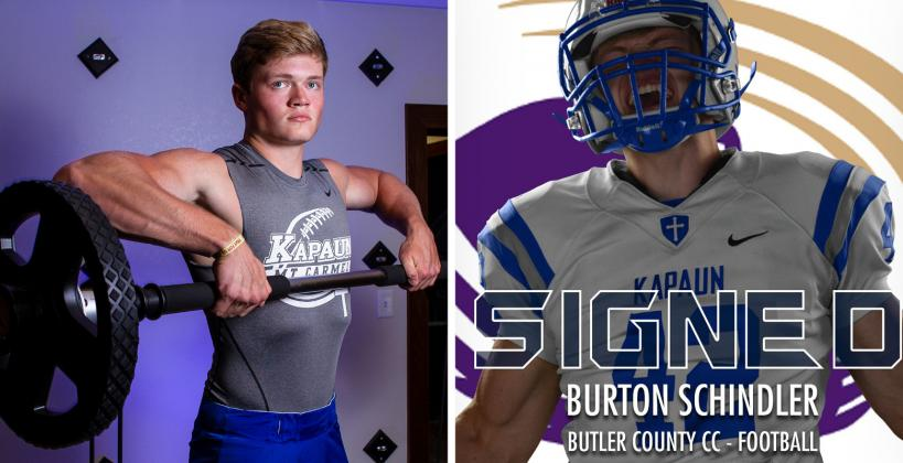 """Kapaun defensive end/linebacker Burton Schindler, part of our """"Weighting Game"""" feature, signed with Butler Community College. (Left photo by Joey Bahr, edit on the right courtesy Kapaun Athletics)"""