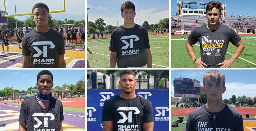 Pictured, clockwise from top left: Coffeyville Field Kindley's Darell Jones, Kapaun's Ethan Stuhlsatz, Omaha North's Sam Scott, Hays High's Jaren Kanak and Gaven Haselhorst and Wichita East's Adama Faye are just a few of the athletes who had big days at Friday's Sharp Performance Showcase in Salina. (Haselhorst photo by Jacob Isaacson; Kanak photo by Derek Young of K-StateOnline.com; All other photos by John Baetz of Kansas Pregame)