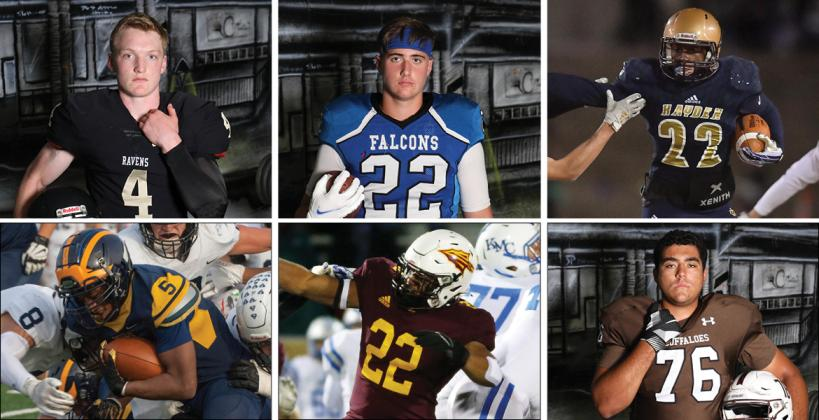 Clockwise from top left: Maur Hill's Andrew Schwinn, West Franklin's Cameron Wise, Topeka Hayden's Desmond Purnell, Garden City's Trey Nuzum, Hays High's Gaven Haselhorst and Wichita Northwest's Julius Bolden are just six of 72 all-star football players from across Kansas participating in this weekend's Kansas Shrine Bowl in Hutchinson.