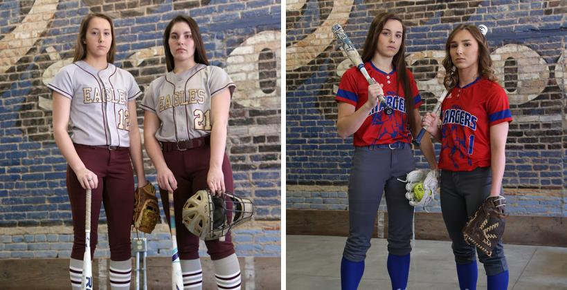 From left-to-right: Silver Lake juniors Lexi Cobb and Daryn Lamprecht and Wabaunsee juniors Autymn Schreiner and Alexis Hafenstine were each chosen for All-State recognition by a committee of Kansas high school softball coaches (Photos by Everett Royer, KSportsImages.com)