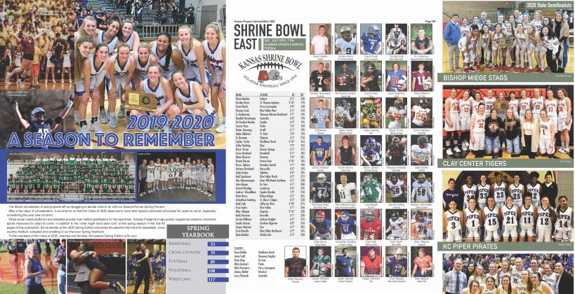 "The 2020 Spring Edition of Kansas Pregame included the first ever spring yearbook with postseason coverage of Cross Country, Basketball, Football, Volleyball and Wrestling in addition to ""preview"" coverage of Baseball, Softball and Track."