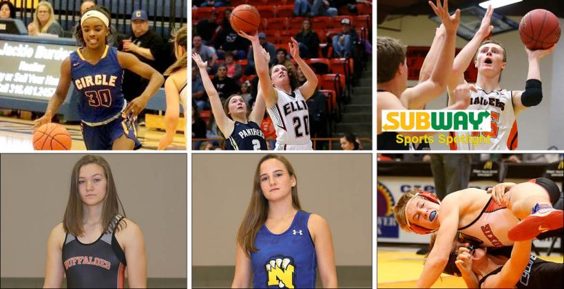 Pictured, clockwise from top left: Circle's Kimalee Cook, Ellis' Grace and Zach Eck, Hoxie's Dylan Weimer, Nickerson's Nichole Moore and Onaga's Morgan Mayginnes. (Cook photo by Circle Yearbook, all others by Everett Royer, KSportsImages.com)