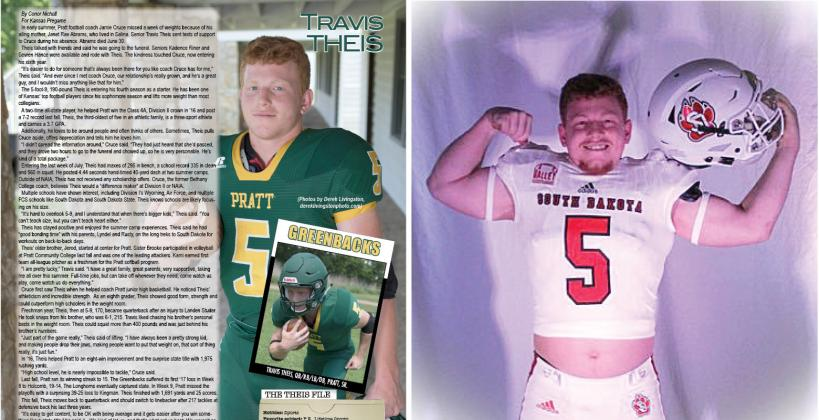 Pratt running back Travis Theis plans to play football at the University of South Dakota this fall. (Theis photo in South Dakota uniform provided courtesy of Theis from his Twitter account)