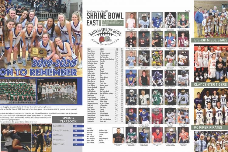 """The 2020 Spring Edition of Kansas Pregame included the first ever spring yearbook with postseason coverage of Cross Country, Basketball, Football, Volleyball and Wrestling in addition to """"preview"""" coverage of Baseball, Softball and Track."""