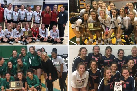 Clockwise from top left: Smith Center (Photo: Lady Red Volleyball); St. Thomas Aquinas (Photo: Saints Volleyball); Clifton-Clyde (Photo: Lady Eagles); Derby (Photo: Brett Flory)