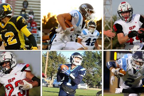The Kansas 6-Man All-Star football game is Saturday in Newton. Among those players participating are, clockwise from top left: Adan Granillo, Colton McCarty, Wade Rush, Drew Schields, Tyler Sabatka and Rojelio Loya. (All photos by Everett Royer, KSportsImages.com, except the Sabatka photo, taken by Darci Schields)