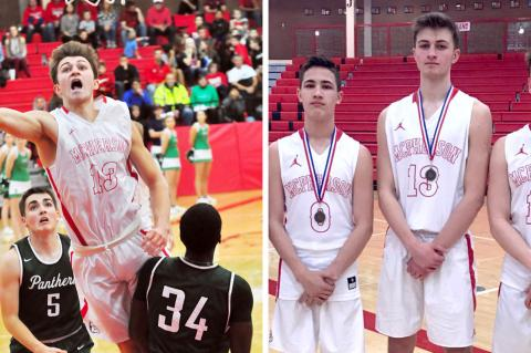 Left: Jake Alexander is the leading scorer for the McPherson Bullpups. (Photo courtesy Cindy Cinnamon) Right: Max Alexander on the left, Jake Alexander in the middle, Mason Alexander on the right. (Photo courtesy Todd Alexander)