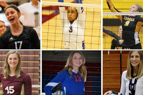 Pictured, clockwise from top left: Washburn Rural's Brooklyn DeLeye, Seaman's Camryn Turner, Andale's Katelyn Fairchild, Central Plains' Kassidy Nixon, Wabaunsee's Lauren Schutter and Silver Lake's Ellington Hogle. (Photo credit, clockwise from top left: Aiden Droge, Topeka Capital-Journal, Lance Reid, Justin Olson, Courtesy Photo, Eagle Eye Photography)