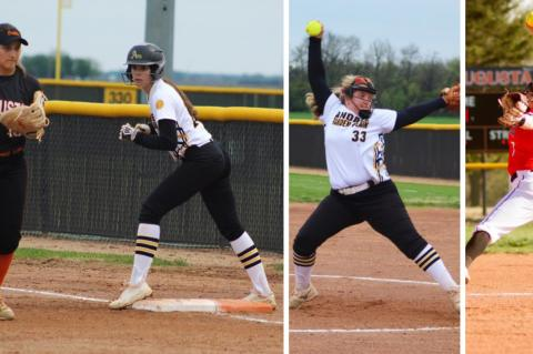 L-R: Augusta's Allie Ebenkamp and Andale/Garden Plain's Macie Eck wait for the pitch in Monday's doubleheader. (Photo by Jaysa Anderson); Andale/GP's Rachel Choate prepares to deliver the pitch in Monday's doubleheader. (Photo by Jaysa Anderson); Augusta's Gracie Johnston is one of the top pitchers in Kansas. (Photo by Lori Streck)