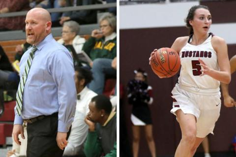 Left: Salina South boys' coach Jason Hooper returns several key pieces from last year's squad. (Photo by Huey Counts); Right: Salina Central's Kadyn Cobb will be looked to for leadership for the Mustangs. (Photo by Huey Counts)