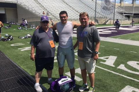 Roger, Mason and Brooks Barta stop for a photo after a K-State football practice in Manhattan last summer. (Courtesy Photo)