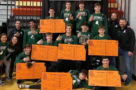 Blue Valley Southwest won the team title at this weekend's 50th annual Beloit Invitational. (Photo courtesy BVSW Wrestling)